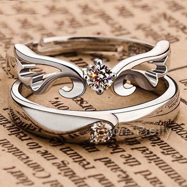 $3.30 1 Pc Delicate Lovers Ring Rhinestone Silver Couple Rings Jewelry Decoration - BornPrettyStore.com