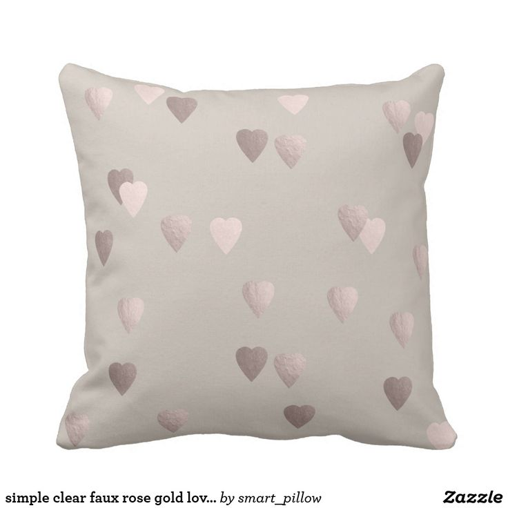 simple clear faux rose gold love hearts, neutral throw pillow