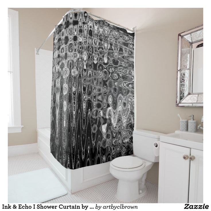 """Rub-a-dub-dub, it's time to upgrade the tub! The Ink & Echo I Shower Curtain designed by Artist C.L. Brown features a unique kinetic light painting-inspired artwork digitally enhanced with Photoshop. The shower curtains dimensions are 71"""" x 71"""" and it fits most standard size tubs. The fabric is 100% polyester, machine washable, and comes ready to hang with 12 stitch-enforced eyelets."""