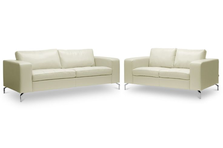 Baxton Studio Lazenby Cream Leather Modern Sofa Set | Wholesale Interiors