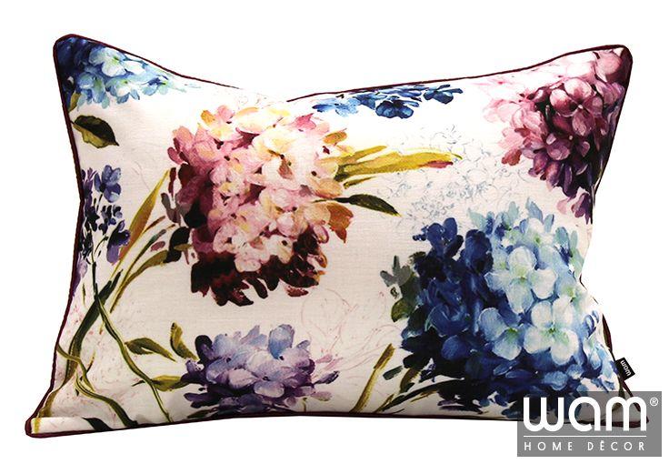 Hydrangeas cushion as seen in Home Beautiful November issue.  Gorgeous home décor items available online http://wamhomedecor.com.au/index.php/hydrangeas-cushion-35x50cm.html