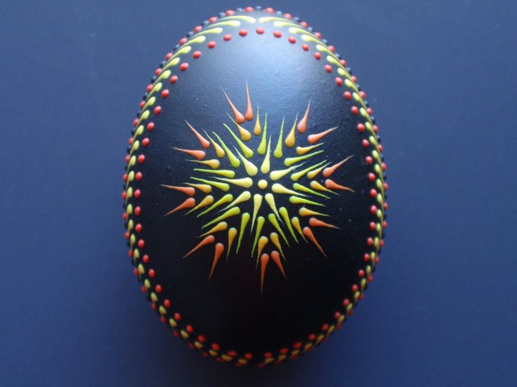 Easter Egg Pysanka in Black, Red and Yellow, Hand Painted Chicken Egg, Wax Embossed Easter Egg. $21.95, via Etsy.