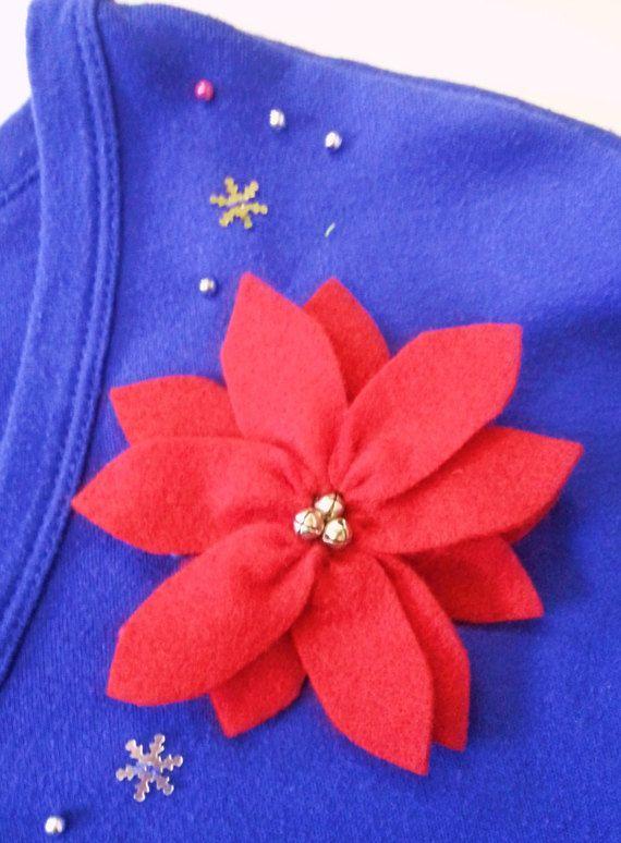 Red Poinsettia Pin Poinsettia Pin Poinsettia by Treadleberries