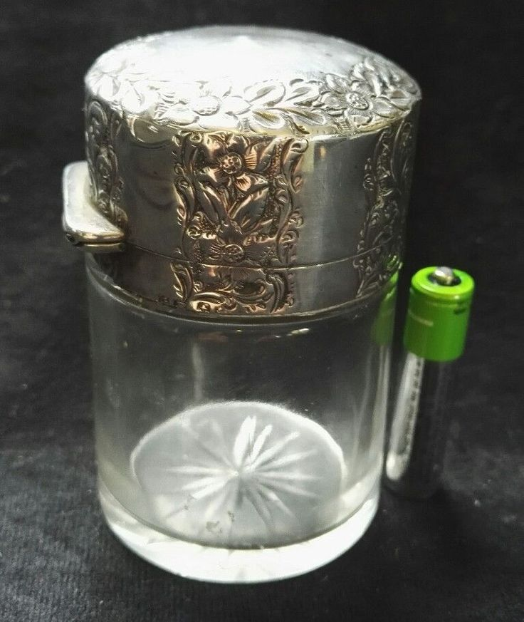 LARGE ANTIQUE SOLID HALLMARKED STERLING SILVER SCENT PERFUME BOTTLE GRH 1902