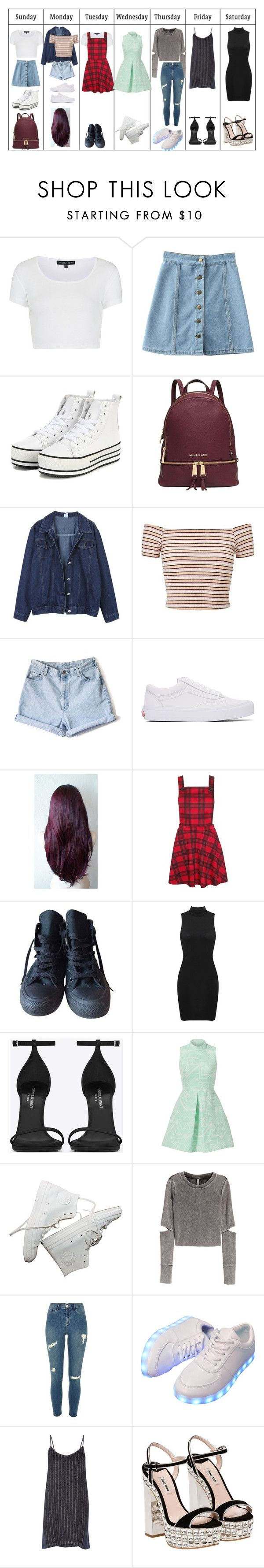 """Untitled #291"" by fangirlkaly8102 ❤ liked on Polyvore featuring Topshop, Michael Kors, Miss Selfridge, Vans, Converse, Yves Saint Laurent, Hunter Bell, H&M, River Island and Sea, New York"