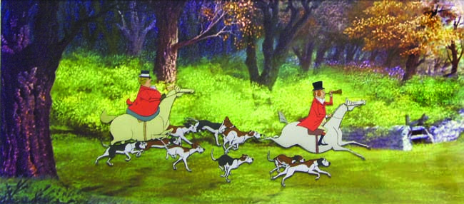Production Cel Of Fox Hunters And Dogs From Mary Poppins Mary Poppins Art I Did Not Buy Pinterest Dogs Foxes And Mary Poppins