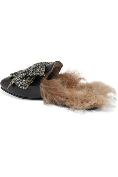 Gucci - Shearling-lined Embellished Leather Slippers - Black - IT38.5