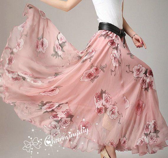 Pink Flowers Chiffon Skirt Long Maxi Sundress Beachdress Holiday Dress Women Summer Pleat Dress Beach Skirt Plus Size Dresses 13 color Y019
