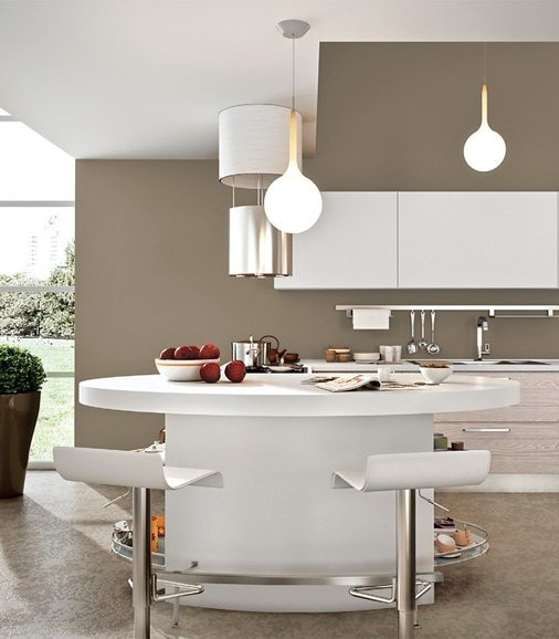 Lacquered wooden fitted #kitchen ADELE PROJECT by Cucine Lube