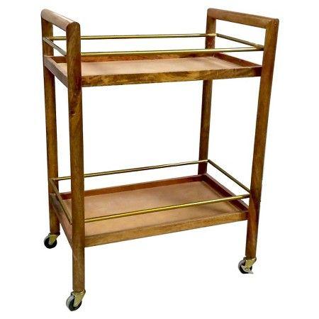 Wood and Gold Bar Cart - Threshold™ : Target