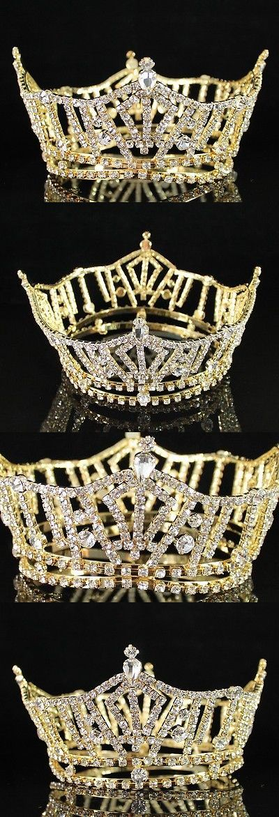 Hair and Head Jewelry 110620: Miss America Full Crown Clear Austrian Rhinestone Tiara Pageant T1297 Gold BUY IT NOW ONLY: $33.99
