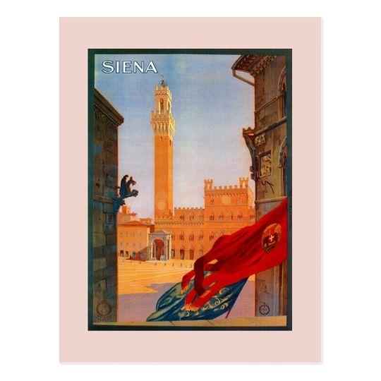 Vintage Siena Italian travel advertising Postcard