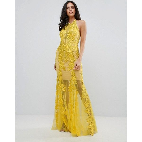 Forever Unique Halter Neck Lace Dress ($170) ❤ liked on Polyvore featuring dresses, yellow, holiday cocktail dresses, slimming cocktail dresses, yellow maxi dress, cocktail maxi dresses and lace maxi dress