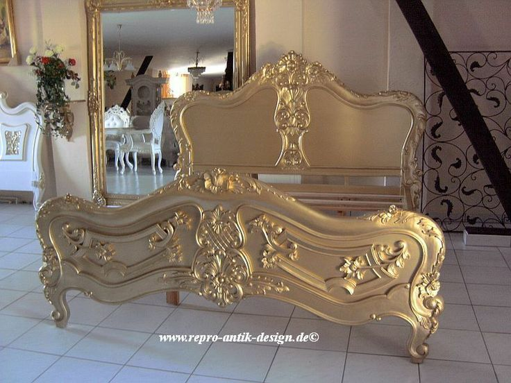 Barock Bett Antik Louis XV Gold  Doppelbett Vintage Barockbett Nostalgie NEU