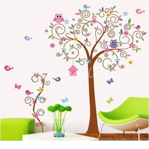 DIY Large Forêt Hibou Oiseau Arbre Mur Sticker Autocollant Decor Chambre Enfant
