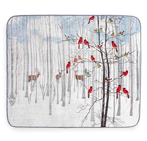 50x60 White Grey Animal Throw Blanket Bird Deer Winter Forest Theme Bedding Cardinal Bird Pattern Butterfly Deer's Soft Plush Solid Color Polyester