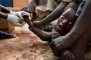 guinea worm disease A parasitic infection occurring in parts of Africa without access to safe water.crisis 3- malaria disease caused from mosquito bites All of these conflicts have resulted in many deaths