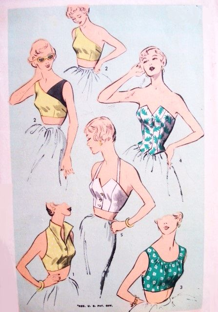 1950s SIZZLING  Bombshell Tops Pattern ADVANCE 5521 Hot Rockabilly Halter Top One Shoulder Top Midriff  Top Day, Beach or Evening Styles Bust 32 Vintage Sewing Pattern