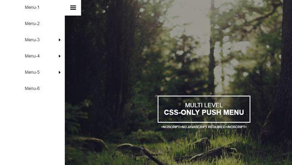 Multi Level CSS Only Push Menu