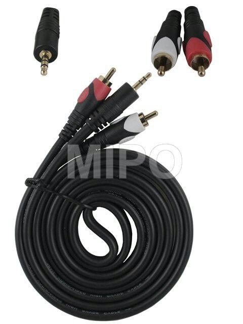 Kabel Audio to 2 RCA 1.5 mtr High Quality  Kabel Audio 3.5mm male to R/L Male Gold Jack High Quality  Panjang : 1.5 Meter  Harga rp75.000 Info detail di : www.tokomipo.com Reseller welcome