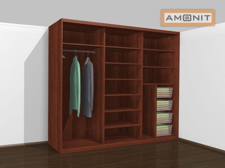 Ukázka vnitřního uspořádání vestavěné skříně - 18. varianta