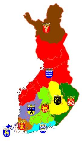 lichtbruin: Finland Proper (Varsinais-Suomi, Egentliga Finland)  donkergroen: Karelia (Karjala, Karelen)  donkerbruin: Laponia (Lappi, Lappland)  rood: Ostrobothnia (Pohjanmaa, Österbotten)  lila: Satakunta (Satakunta, Satakunda)  geel: Savonia (Savo, Savolax)  lichtgroen: Tavastia (Häme, Tavastland)  lichtblauw Uusimaa (Uusimaa, Nyland)  donkerblauw: Åland (Ahvenanmaa, Åland)