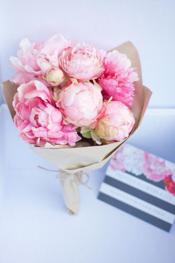 Silk Peonies Arrangement Pink Flowers Bouquet Wedding Gift Peony Arrangement Silk Peonies Pink Flower Bouquet