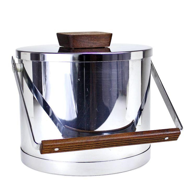Kromex Chrome Ice Bucket, Teak Knob, Teak Detailed Handle #midcentury #vintage