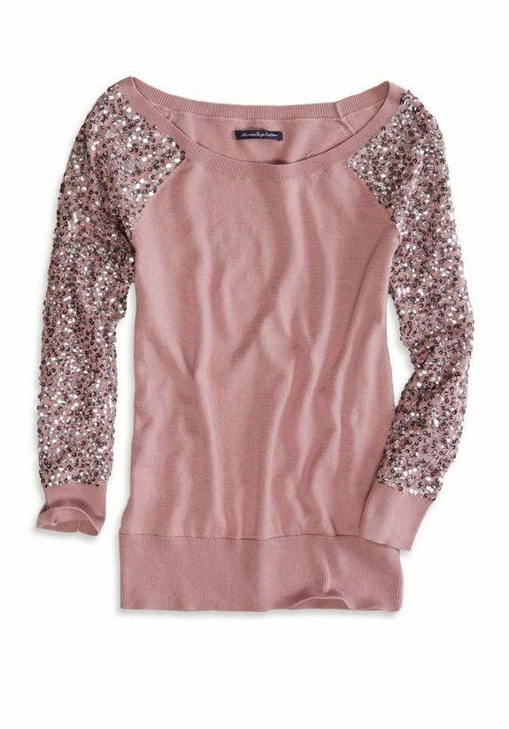AE Sequin sleeve sweater