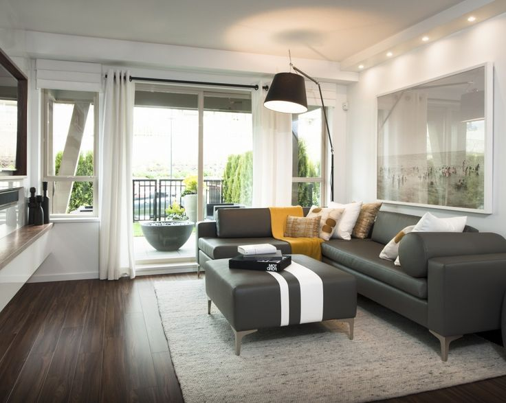 Living Room: Dark Brown Wooden Floor Rectangle White Large Fur Carpet  Floorng Gray Leather Large Part 44