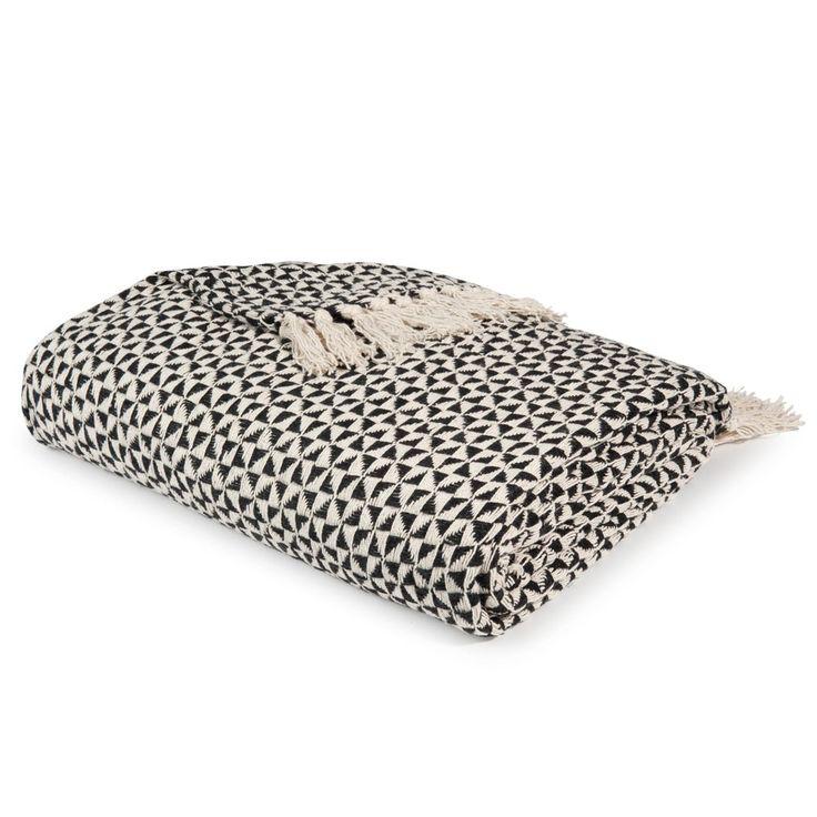 Jeté en coton noir/blanc 130 x 160 cm MAKASSAR | Maisons du Monde