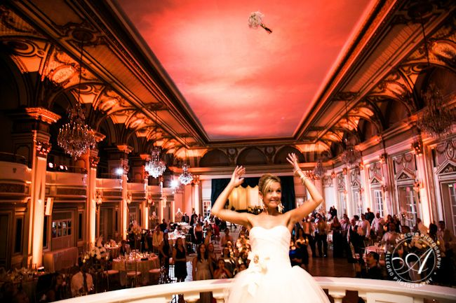 So fun! The balcony in the Grand Ballroom at The Fairmont Copley Plaza is the perfect spot for the coveted bouquet toss.   Photographed by Allegro Photography. | #wedding #weddings #Boston #venue