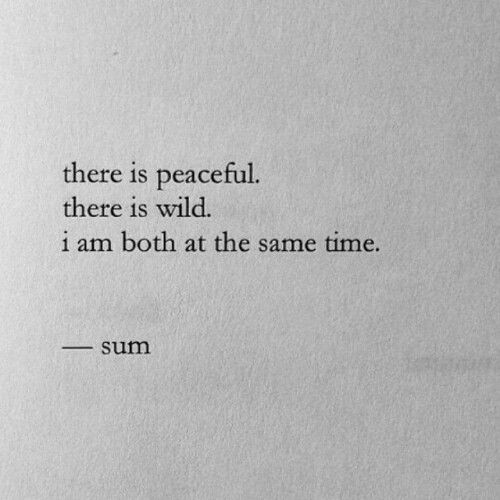 There is peaceful. There is wild. I am both at the same time. - Yup, try me.