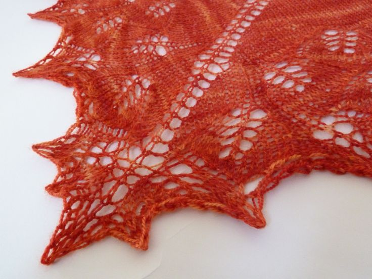 Ginkgo  shoulderette shawl made from Smudge Yarns in the Cinnabar colourway