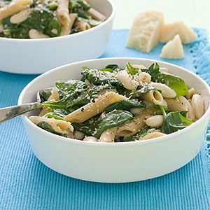 Satisfying low-calorie recipes   Whole-Wheat Pasta with White Beans and Spinach   AllYou.com