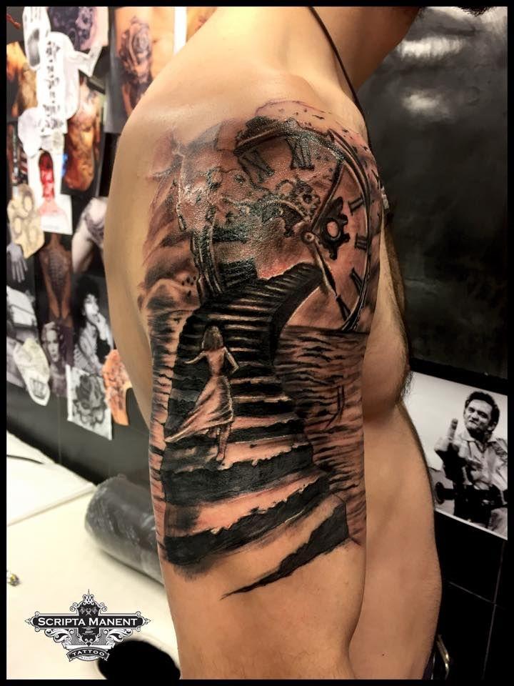 Clock and Stairs tattoo
