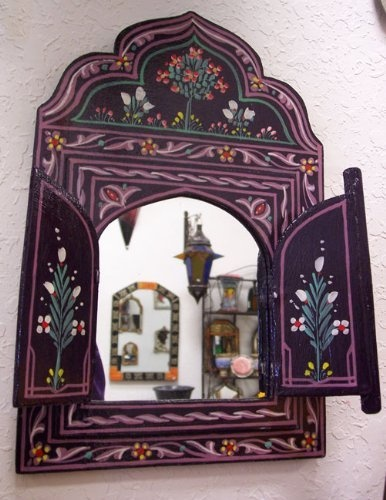Purple Zouak Wood Painted Mirror Free Shipping By Treasures Of Morocco by Moroccan Mirrors, http://www.amazon.com/dp/B00757HQNK/ref=cm_sw_r_pi_dp_QfzRpb0DTPVKG
