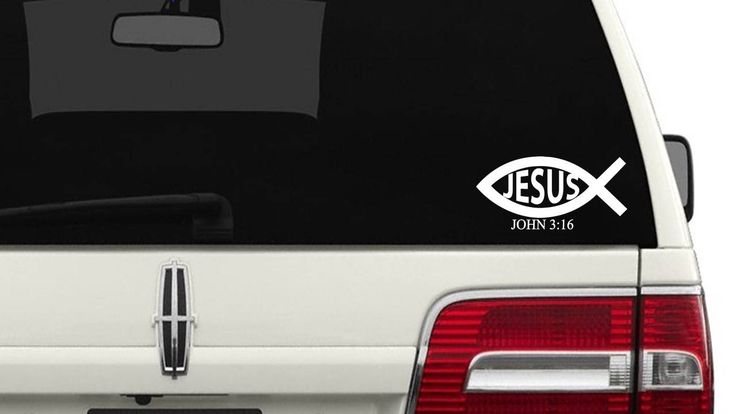 Ichthys Car Decal/John 3:16 Truck Decal/ Christian Fish SUV Decal/Mirror Decal/Laptop Computer Decal by touchofbeautydesigns on Etsy