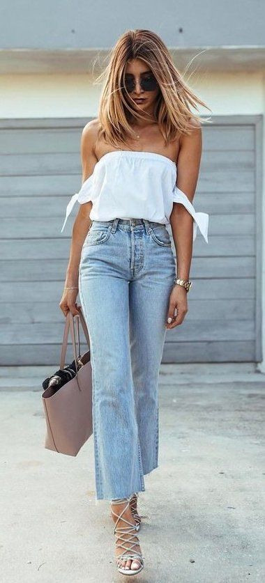 summer outfits  White Off The Shoulder Top + Bleached Jeans