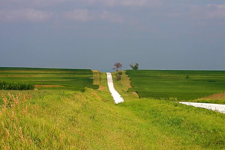Iowa country gravel road
