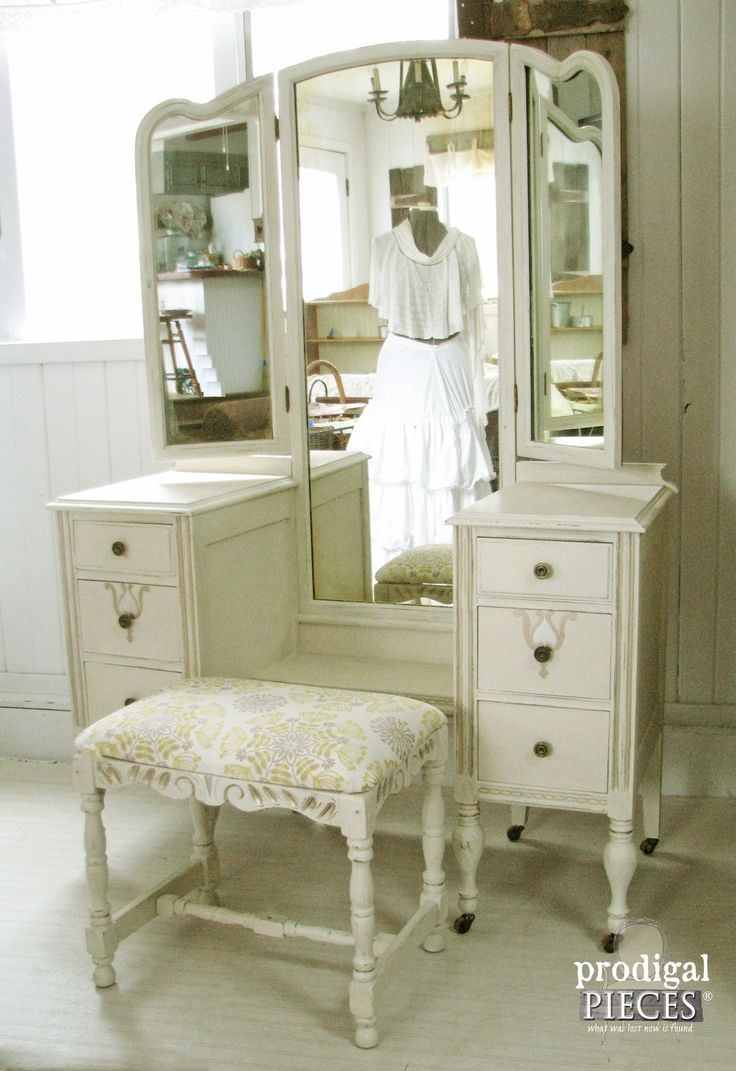 An Antique Vanity Makeover With Bench By Prodigal Pieces