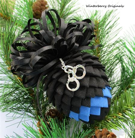 Police Pinecone Ornament - Thin Blue Line Police Tribute Ornament - Law Enforcement Ornament - Law Enforcement Pinecone Ornament, Thin Blue Line Law Enforcement Tribute Ornament   #thinblueline #Christmas #police #lawenforcement