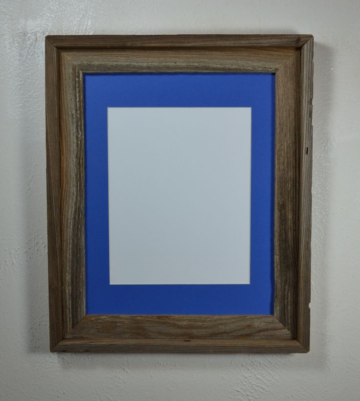 11 Quot X Quot 14 Repurposed Wood Frame With Blue 8x10 Mat Gray