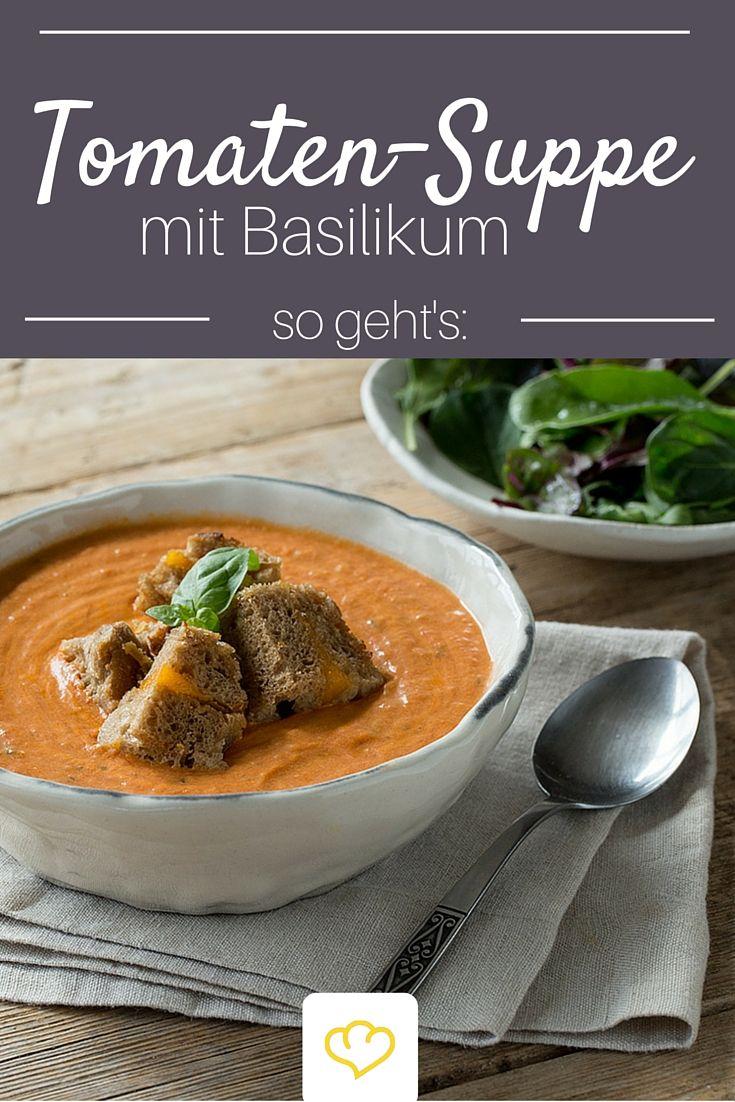 Tomaten-Basilikum Suppe mit Käse-Croutons - wahres Seelenfutter! #Tomatensuppe