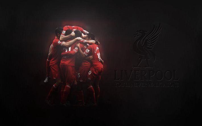 Télécharger fonds d'écran Liverpool FC, club de football, Vous n'aurez plus jamais marcher seul, de Premier League