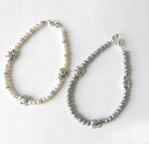 Armbänder - Elefanten-Armband creme-silber grau-silber - ein Designerstück von soschoen bei DaWanda