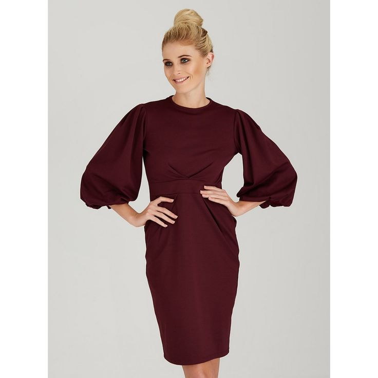 Lantern Sleeve Dress Dark Red