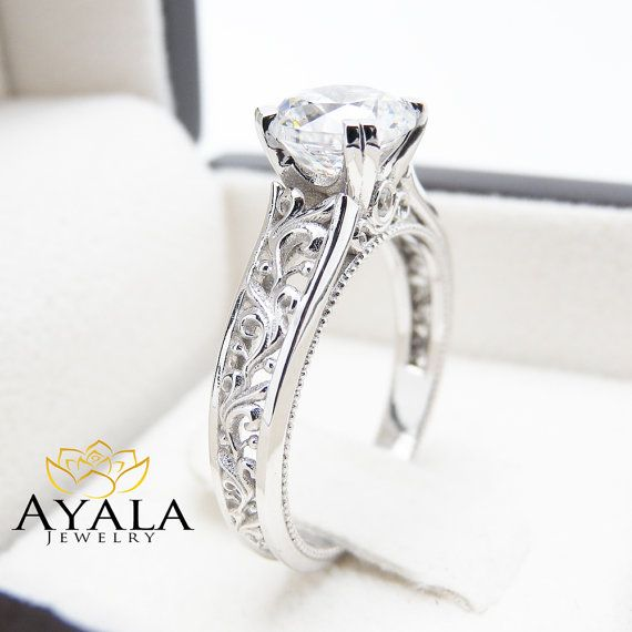 Diamond Engagement Ring in 14K White Gold Unique by AyalaDiamonds