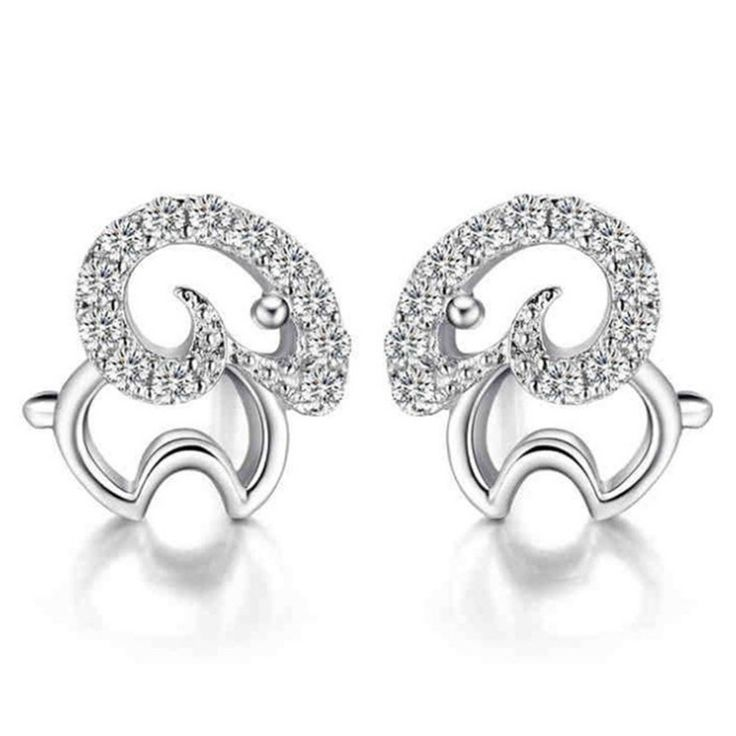 Fashion Cute small sheep Silver Plated studs earrings female lucky ear jewelry animal Earrings For Women