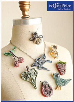 CE NEST PAS UN PRODUIT FINI  Fermeture à glissière bijoux motif « Zips de printemps » par Indygo de jonction  Ce modèle comprend 8 modèles différents... Bluebird de broche de bonheur, broche Chick-a-dee, cerises joyeux broche, broche abeille, épingle Lady Bug, belle feuille fraise broche et collier hirondelle.  Sil vous plaît, vous prenez une tasse de café ou « Gazeuses diètes » (qui est le mien) prenez une chaise et visitez notre site web!! Je suis sûr que vous pouvez vous retrouver quelque…